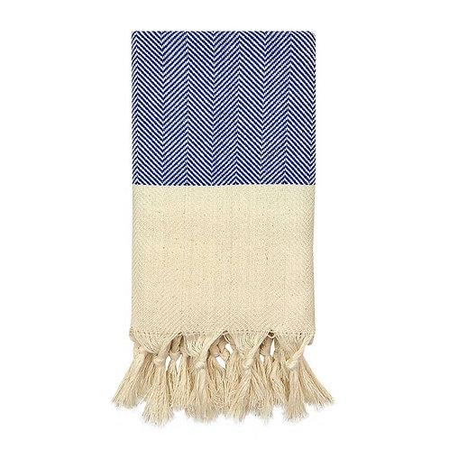 Herringbone Turkish Hand Towel Cobalt