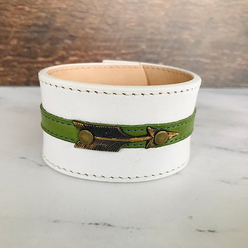 Leather Belt Bracelet with White Leather + Arrow