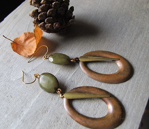 Olive Oval Hoop + Dagger Earrings