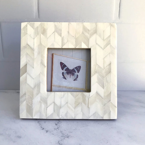 Chevron Pattern Photo Frame in Pearl