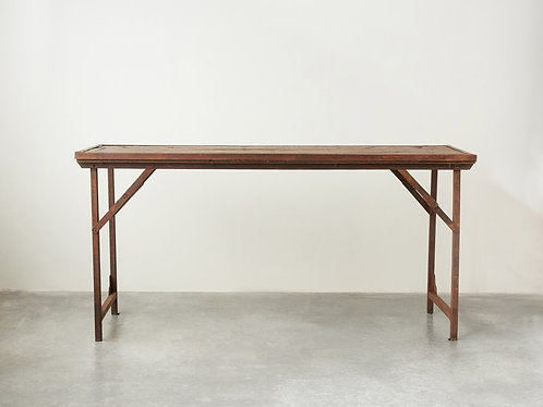 Folding Dining Table with Metal Edging