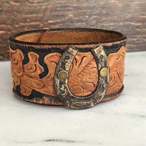 Leather Belt Bracelet with Horseshoe
