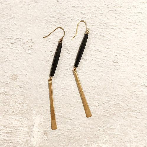 Black Bead + Brass Drop Earrings