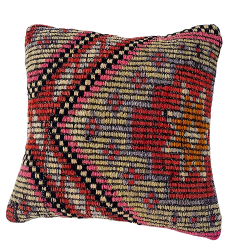 Coral Brights Kilim Pillow 16x16