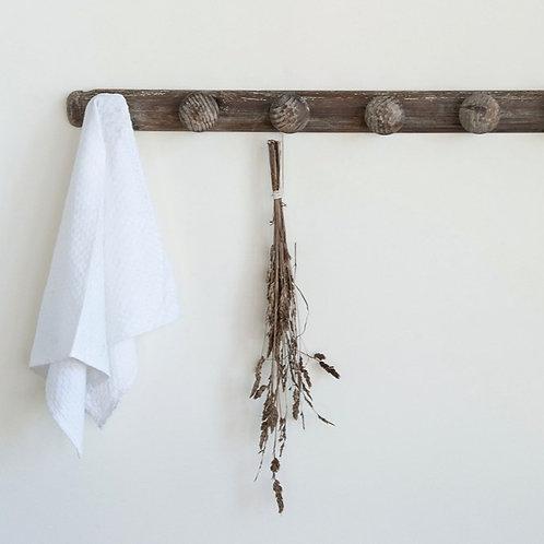 Distressed Wood Coat Rack Whitewashed Hook Grey Wash Knobs