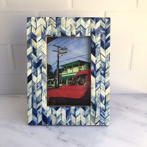 Chevron Pattern Photo Frame in Indigo