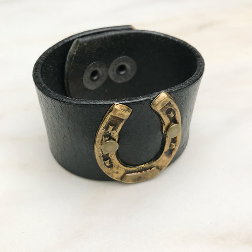 Leather Belt Bracelet with Horseshoe