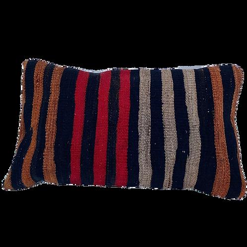 Striped Red Brown + Black Kilim Pillow 12x20