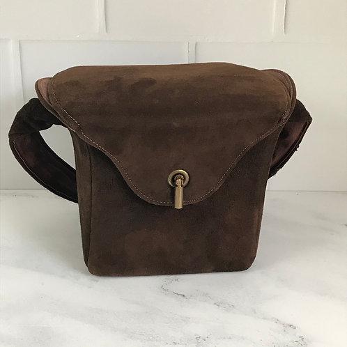 Bressner Suede Bag Handbag Purse Brown Vintage 1940 Pocketbook