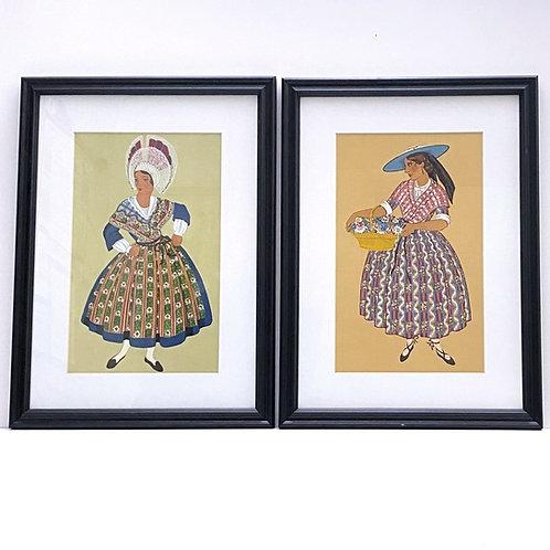 Vintage Pochoir Print Pair