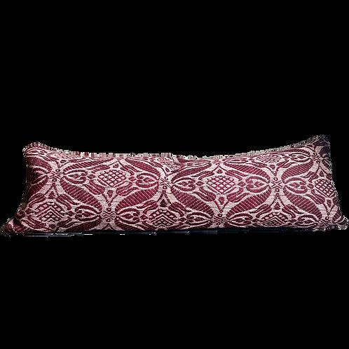 Plum Damask Kilim Pillow 12x36
