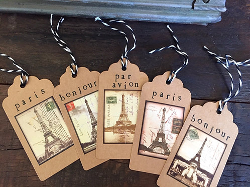 Eiffel Tower Gift Tags Set/10