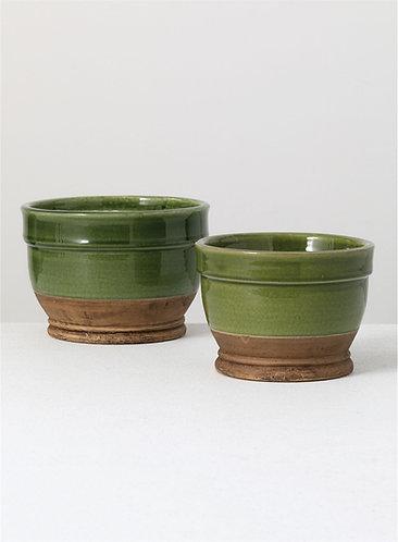 Green Glaze Planter Pots - 2 Sizes