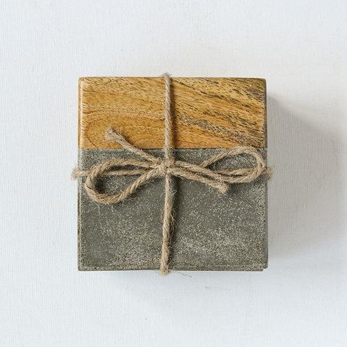 Cement & Wood Coaster Set