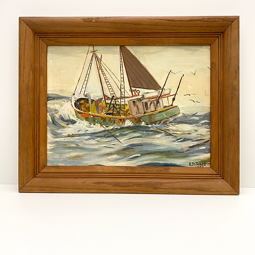 Vintage Oil on Board Painting of Boat by R. St. James