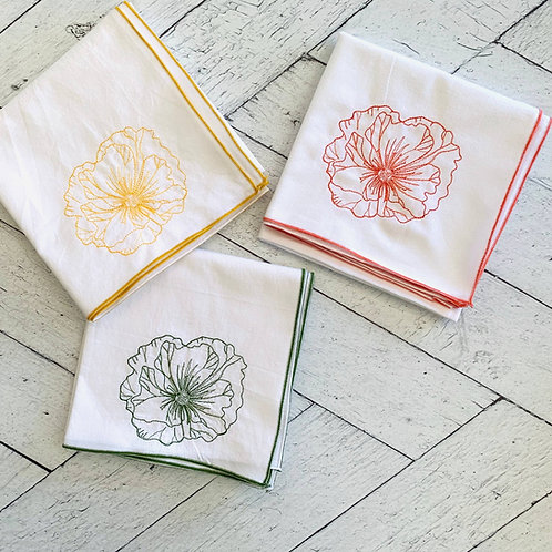 Poppy Flour Sack Towel Set of 3 Hand Embroidered