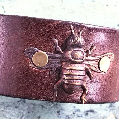 Leather Belt Bracelet with Bee