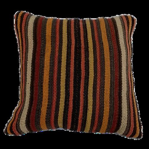 Striped Brown Kilim Pillow 16x16