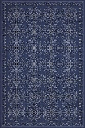 Vintage Vinyl Floorcloth - Pattern 28 Indigo Bandana - 20x30
