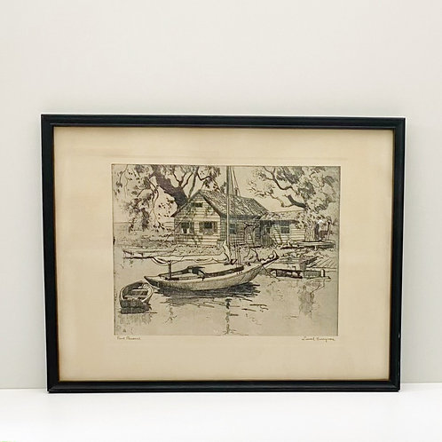 Vintage Etching of Point Pleasant by Lionel Barrymore