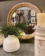 Round Mirror and Vase in White