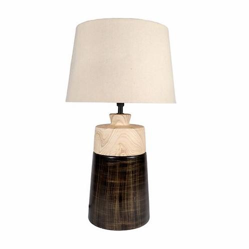 Faux Wood + Bronze Taper Lamp