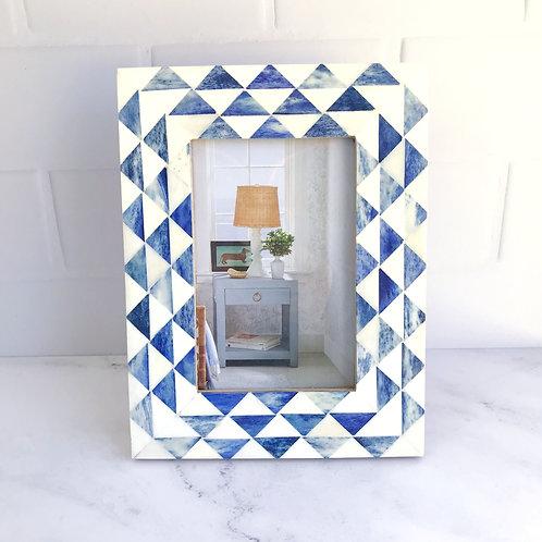 Triangle Pattern Photo Frame in Indigo + White