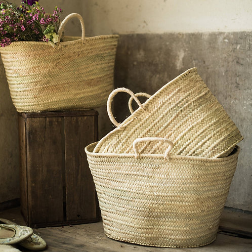 Sisal Handle Market Basket Tote Bag