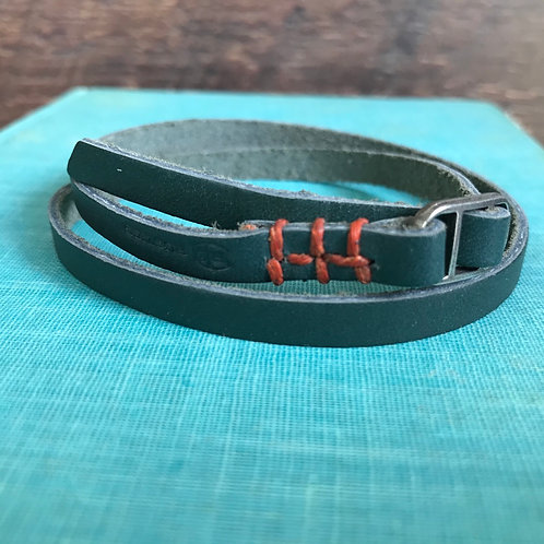 Leather Wrap Bracelet with Coral Stitching