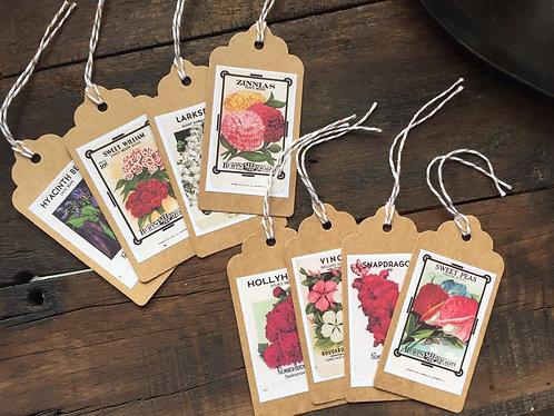 Vintage Flower Seed Packet Gift Tags Set/8