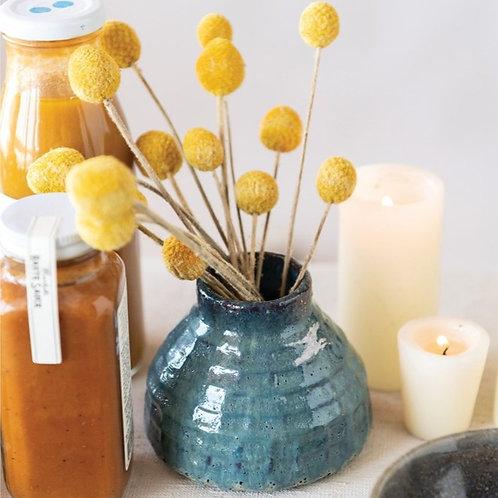 Blue Stoneware Bud Vase Reactive Glaze Turquoise