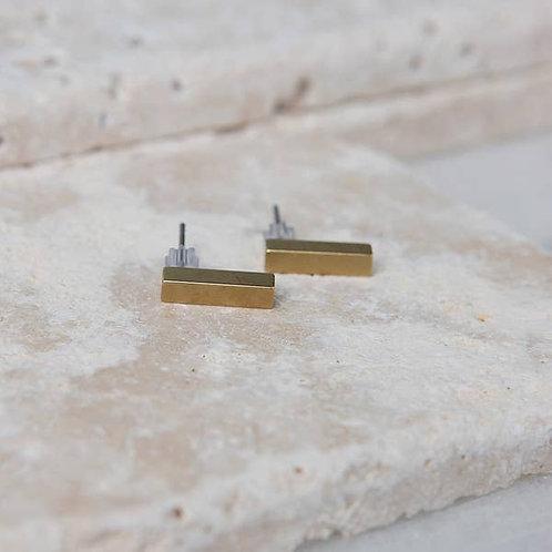 Brass Tiny Bar Earrings