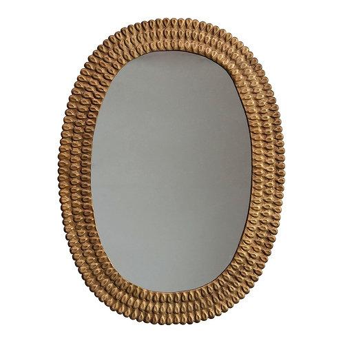 Embossed Metal Oval Mirror