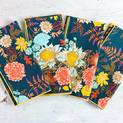 Blue Floral Cotton Napkin Set/4