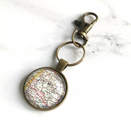 Berkshires Map Key Ring