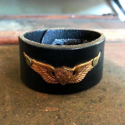 Leather Belt Bracelet with Eagle Wings