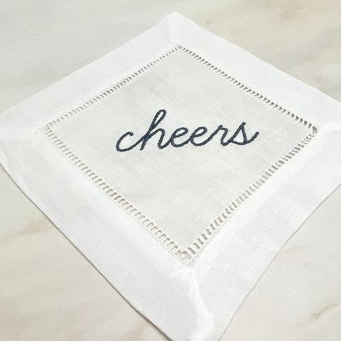 Cheers Embroidered CocktaiI Napkins Set/4 Linen/Cotton