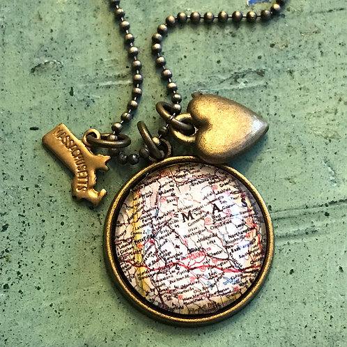Berkshires Map Necklace