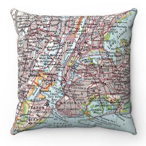 New York Boroughs Map Pillow