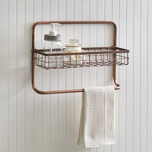 Copper Finish Bathroom Basket + Towel Bar