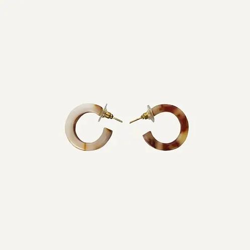 Milk & Coffee Tortoise Earrings - Small