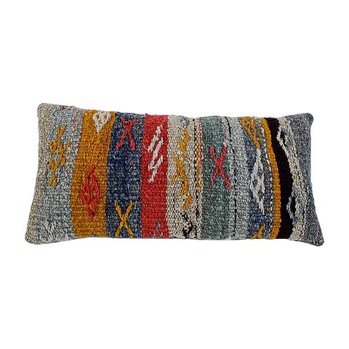 Striped Grey Textured Kilim Pillow 12x24