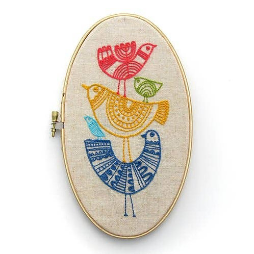 Stacked Birds Embroidery Kit