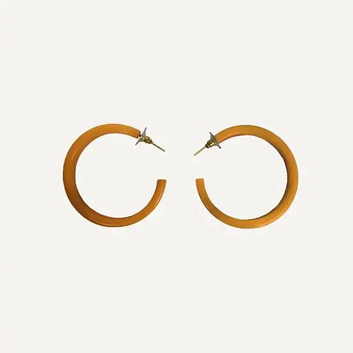 Tortoise Hoop Earrings in Amber