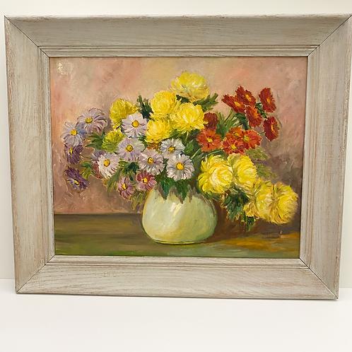 Vintage Oil Painting of Chrysanthemums