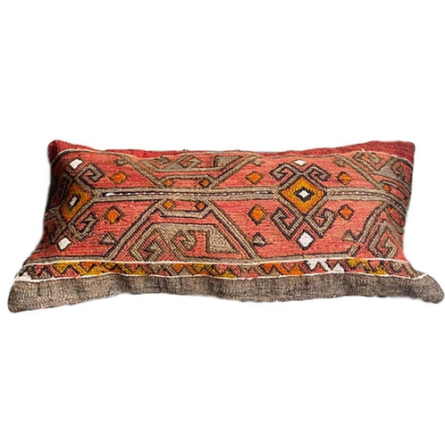 Grey + Coral Kilim Pillow 12x24