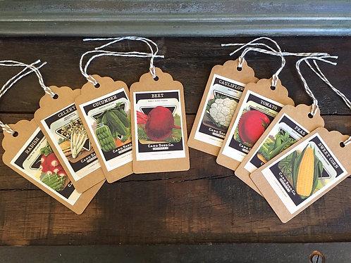 Vintage Veggie Seed Packet Gift Tags Set/8