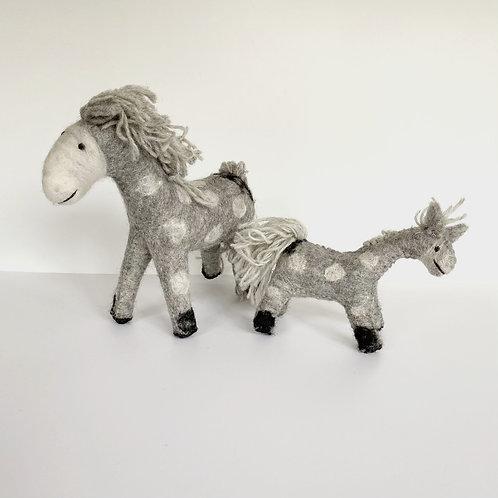 Felted Grey Wool Horses (2 sizes)