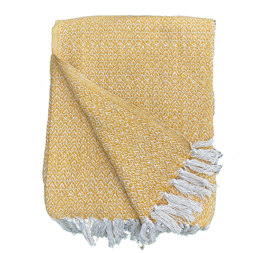 Recycled Cotton Throw in Mustard