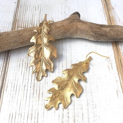 Brass Oak Leaf Earrings